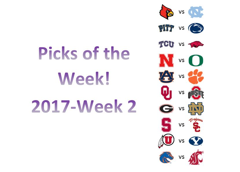 2017 – Week 2 Picks