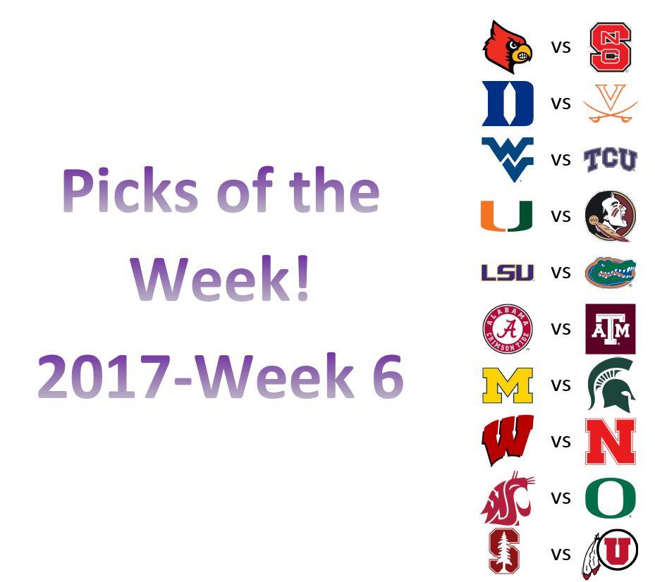 2017 – Week 6 Picks